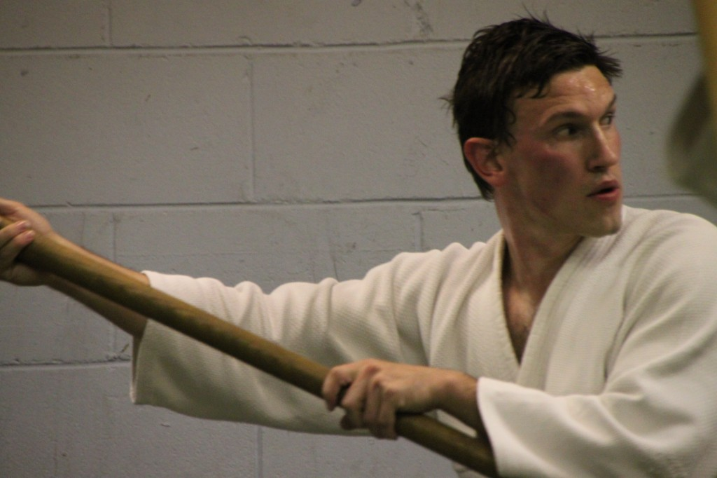 Aikido student during weapons practice